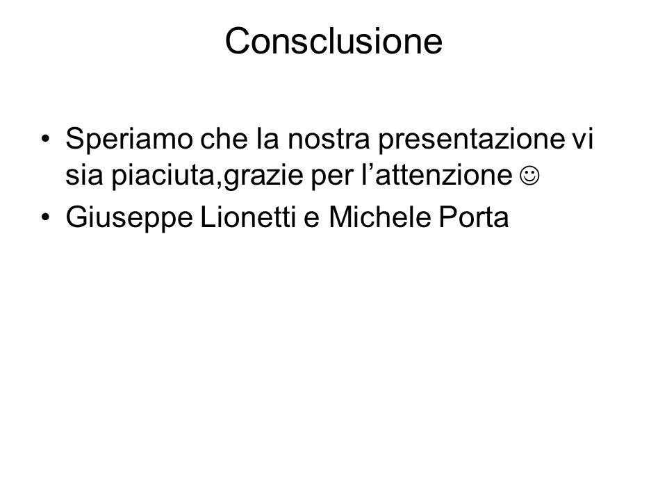 Consclusione Speriamo che la nostra presentazione vi sia piaciuta,grazie per l'attenzione  Giuseppe Lionetti e Michele Porta.
