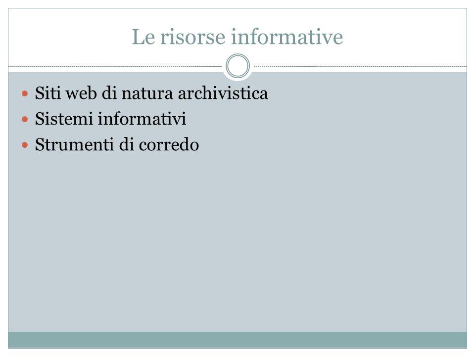 Le risorse informative