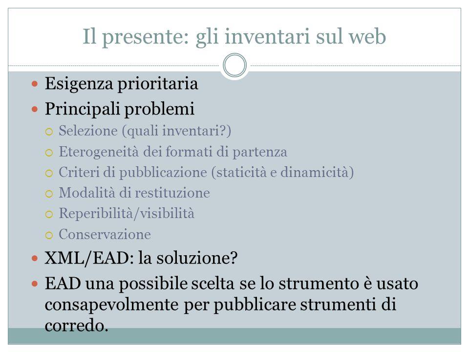 Il presente: gli inventari sul web