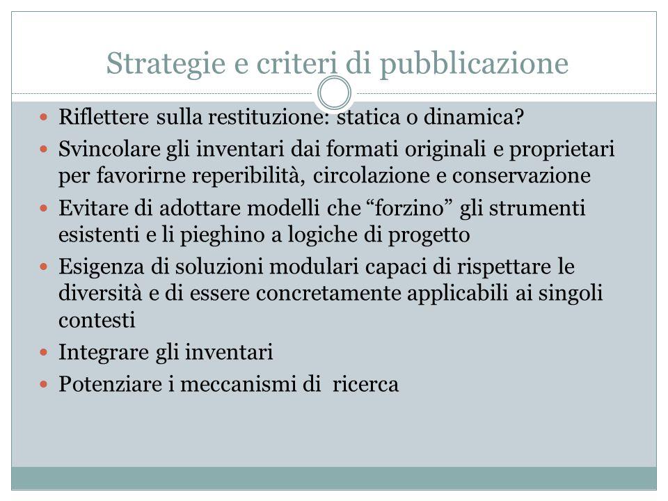 Strategie e criteri di pubblicazione