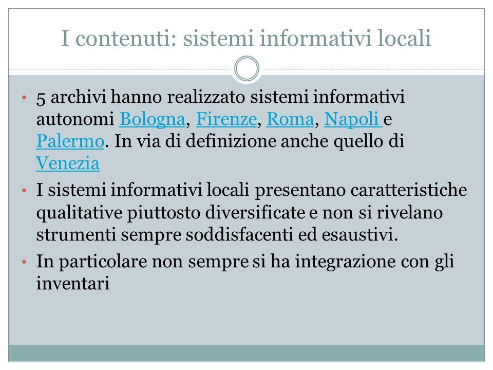 I contenuti: sistemi informativi locali