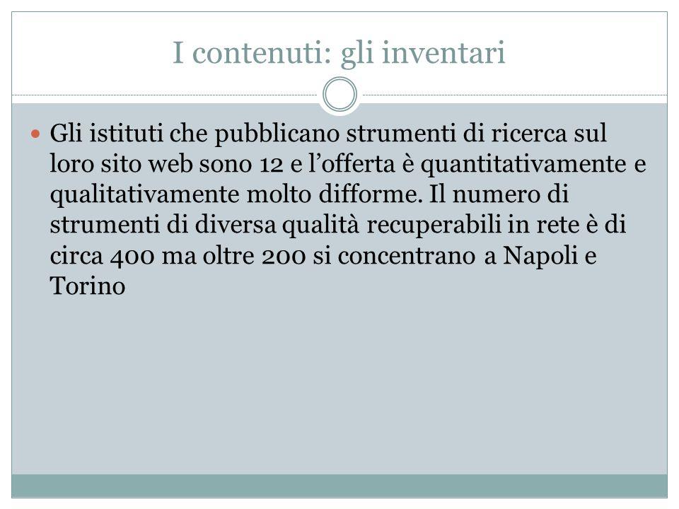 I contenuti: gli inventari