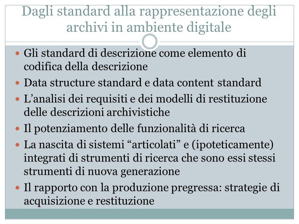 Dagli standard alla rappresentazione degli archivi in ambiente digitale