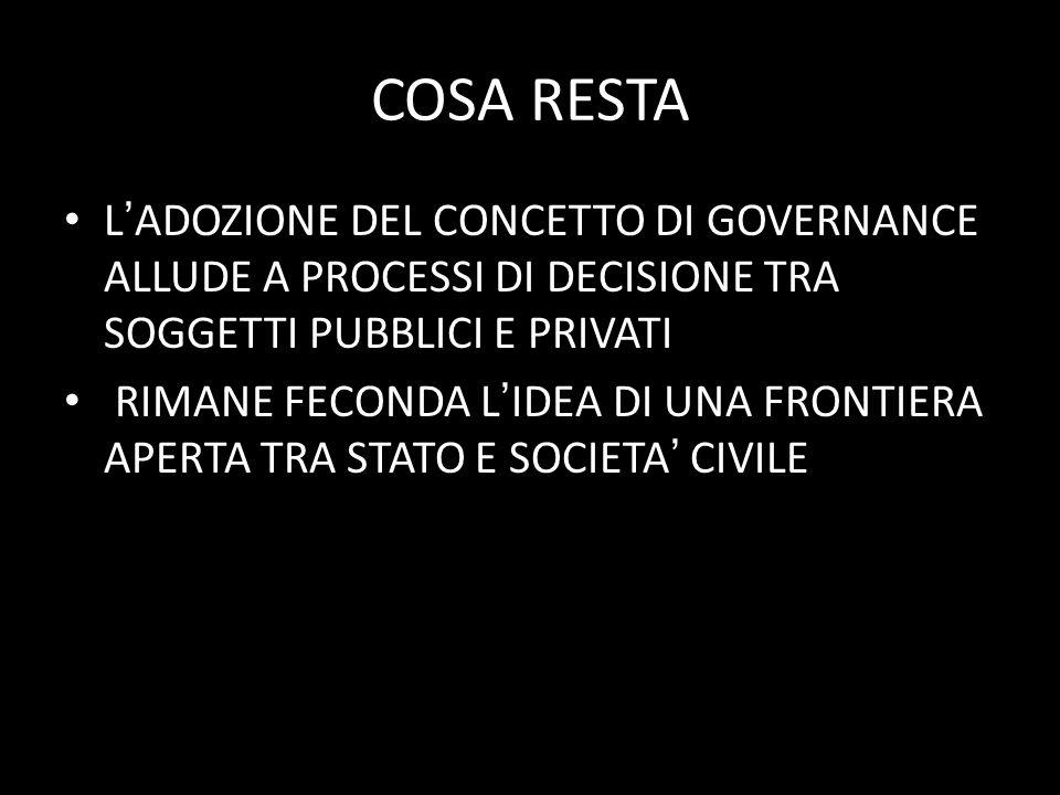 COSA RESTA L'ADOZIONE DEL CONCETTO DI GOVERNANCE ALLUDE A PROCESSI DI DECISIONE TRA SOGGETTI PUBBLICI E PRIVATI.