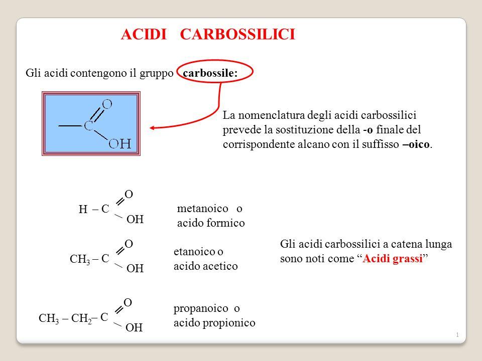 ACIDI CARBOSSILICI Gli acidi contengono il gruppo carbossile: