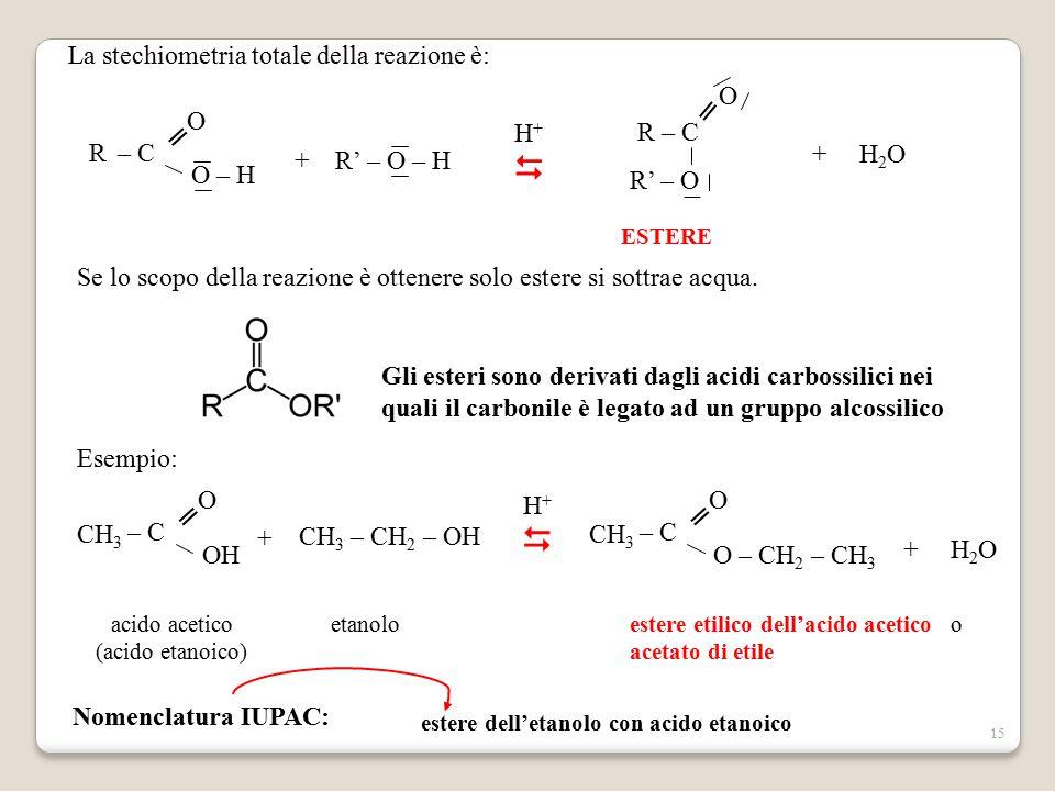   La stechiometria totale della reazione è: R – C R' – O ═ O – C O