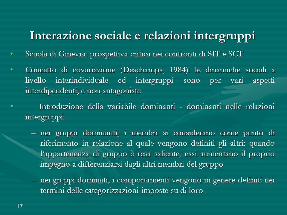 Interazione sociale e relazioni intergruppi