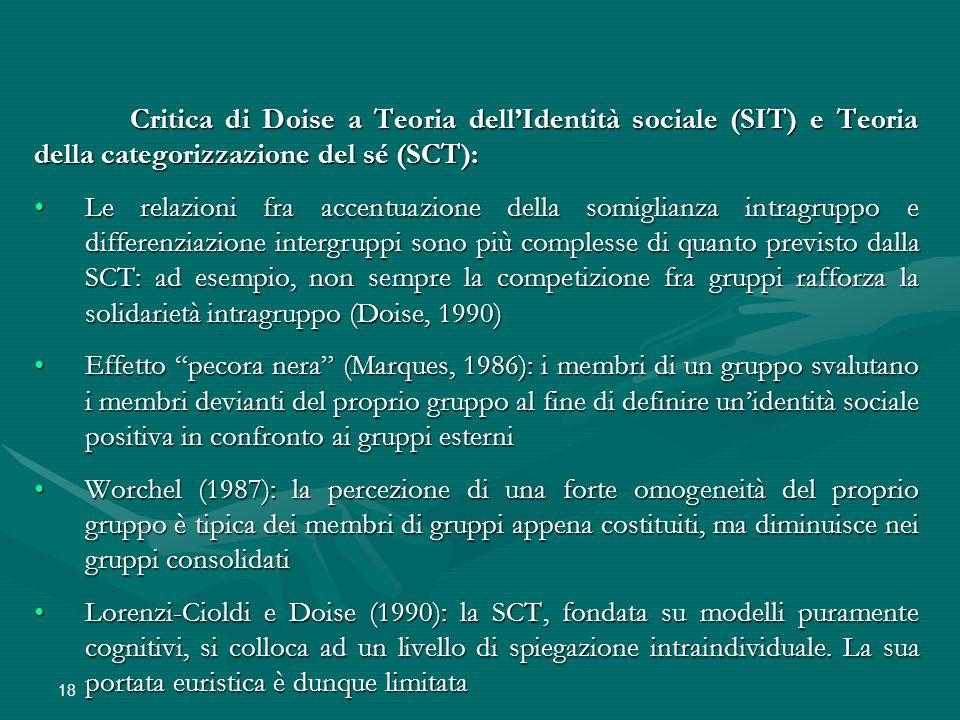 Critica di Doise a Teoria dell'Identità sociale (SIT) e Teoria della categorizzazione del sé (SCT):