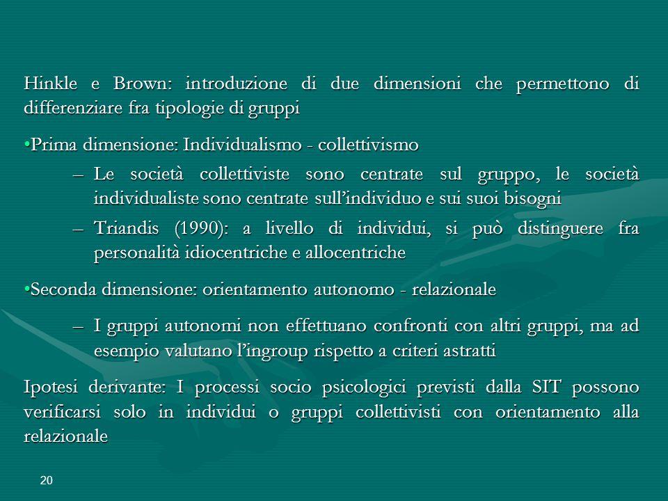 Hinkle e Brown: introduzione di due dimensioni che permettono di differenziare fra tipologie di gruppi