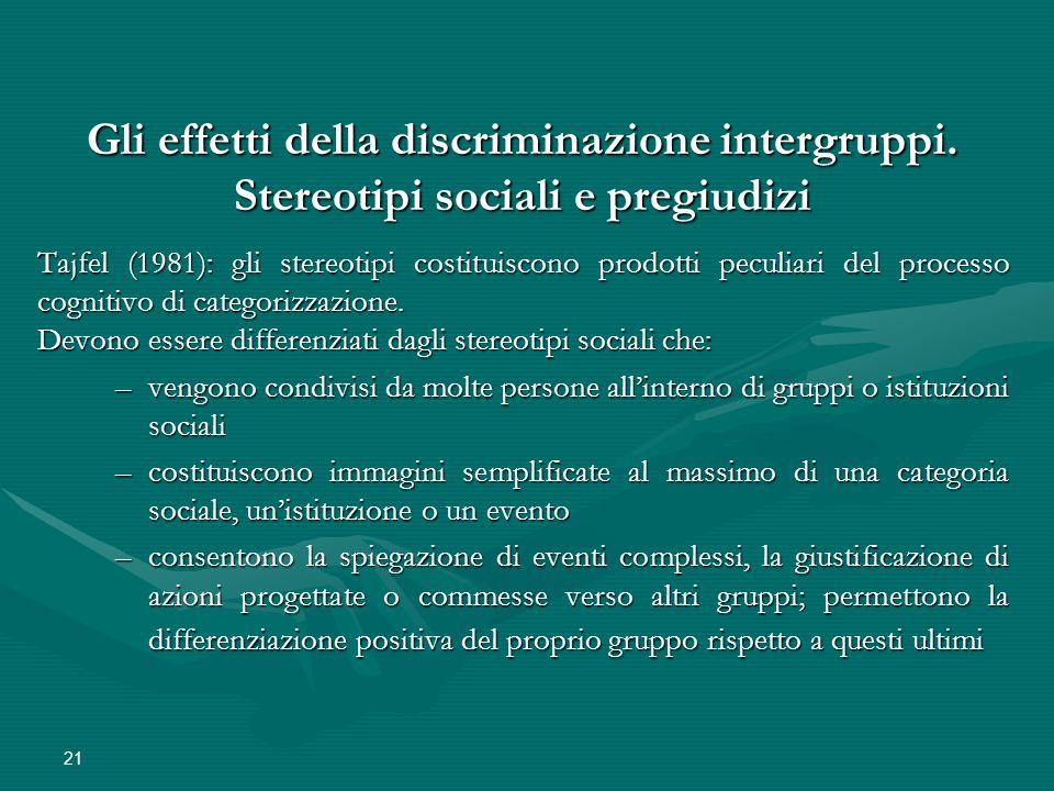 Gli effetti della discriminazione intergruppi.