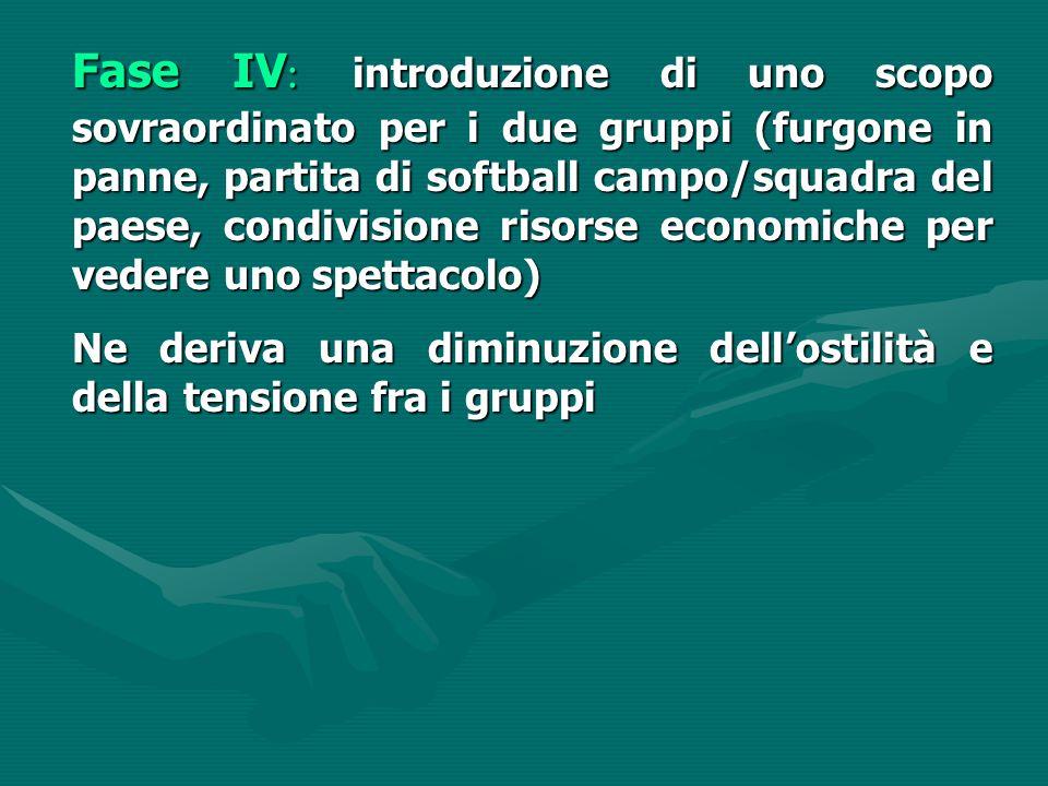 Fase IV: introduzione di uno scopo sovraordinato per i due gruppi (furgone in panne, partita di softball campo/squadra del paese, condivisione risorse economiche per vedere uno spettacolo)