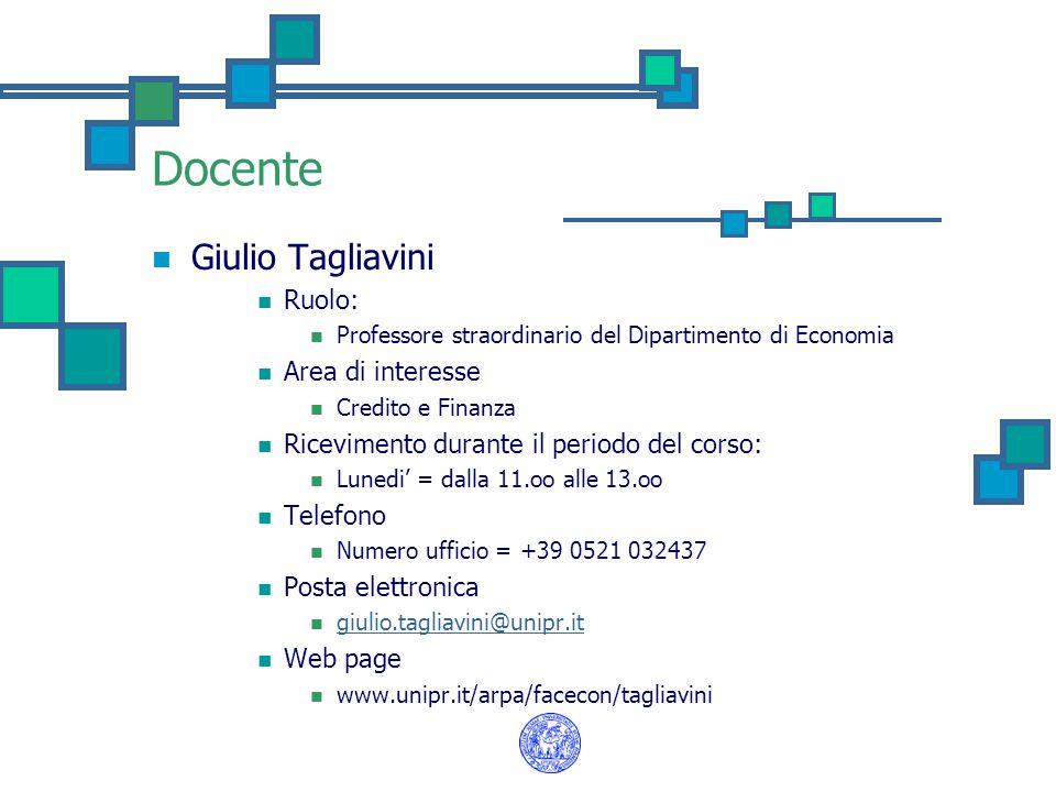 Docente Giulio Tagliavini Ruolo: Area di interesse