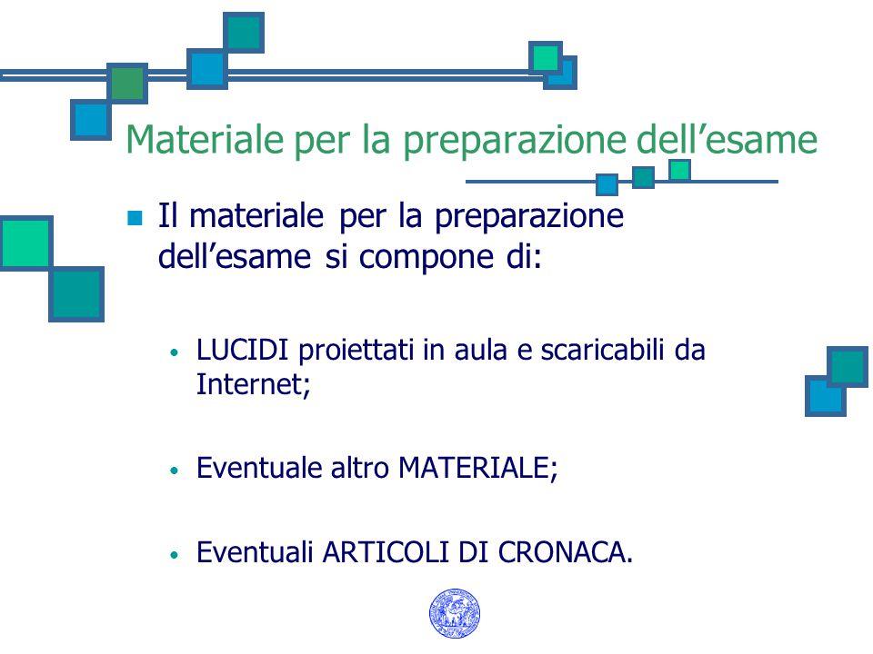 Materiale per la preparazione dell'esame