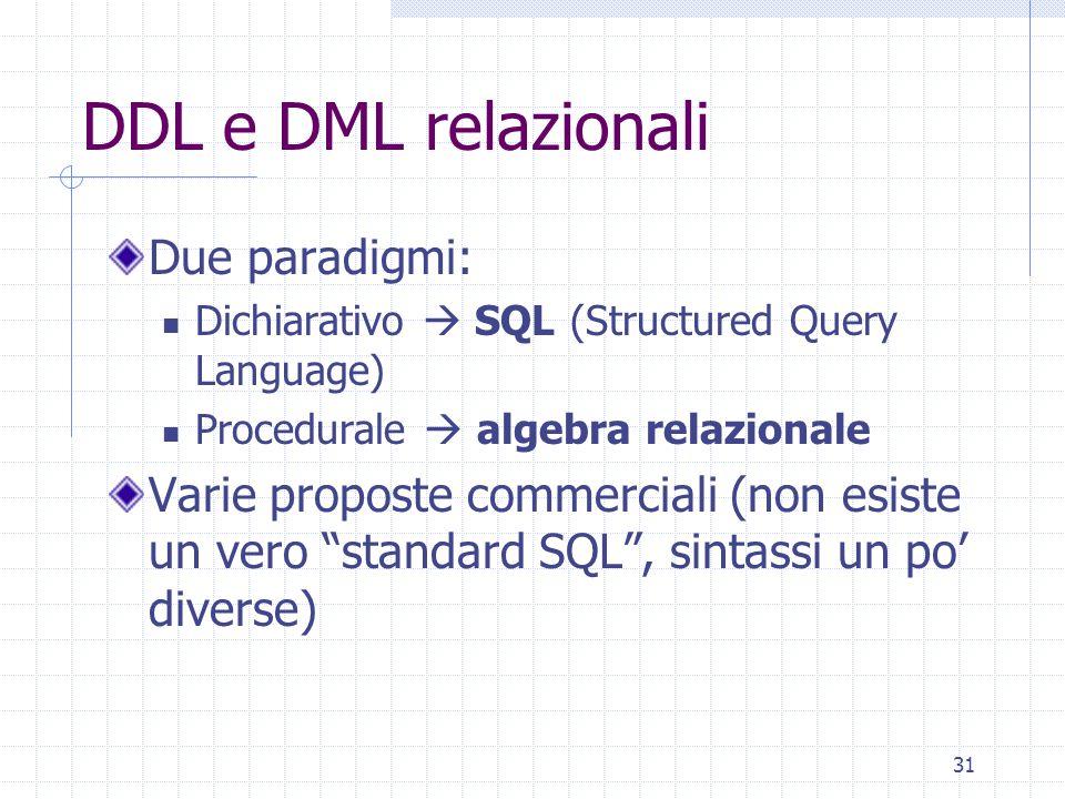 DDL e DML relazionali Due paradigmi: