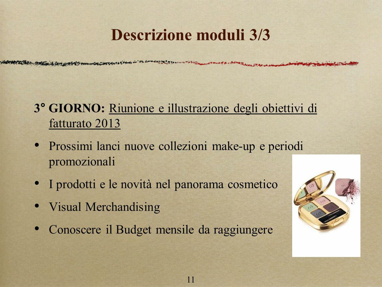 Descrizione moduli 3/3 3° GIORNO: Riunione e illustrazione degli obiettivi di fatturato 2013.