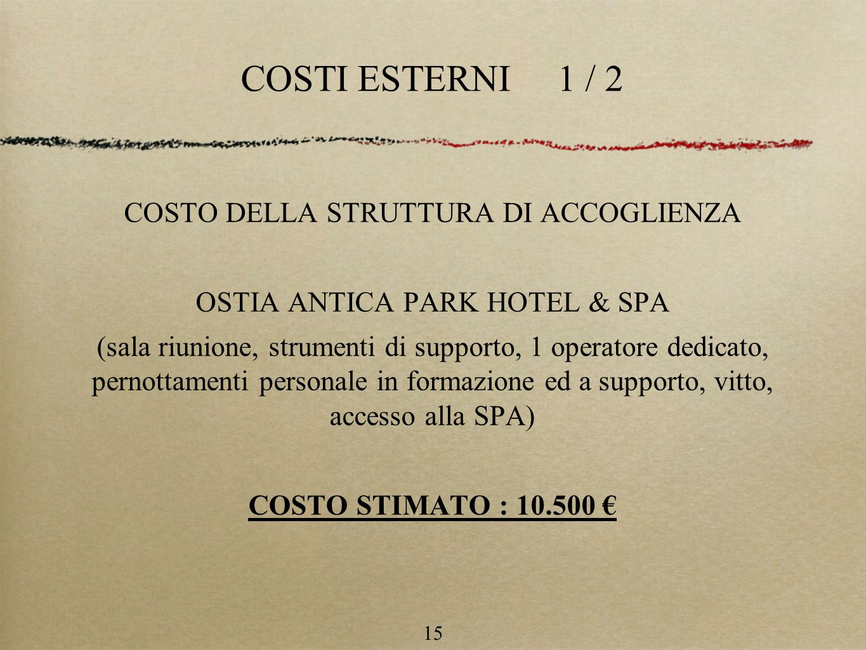 COSTI ESTERNI 1 / 2 COSTO DELLA STRUTTURA DI ACCOGLIENZA