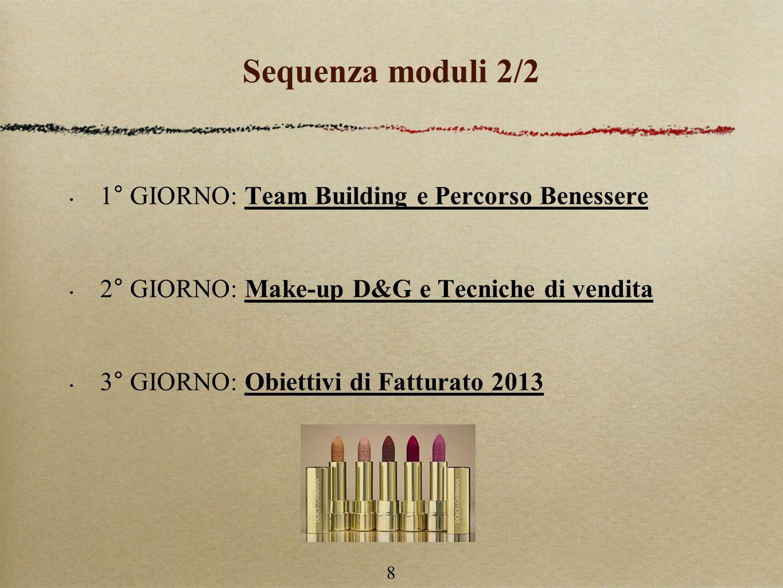 Sequenza moduli 2/2 1° GIORNO: Team Building e Percorso Benessere