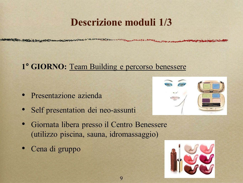 Descrizione moduli 1/3 1° GIORNO: Team Building e percorso benessere