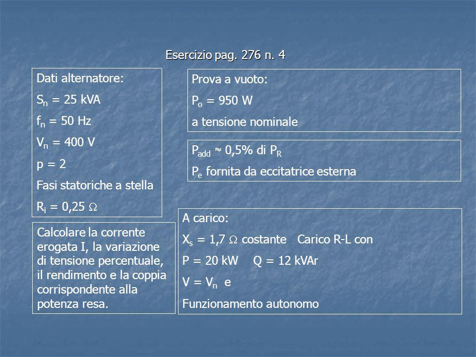 Esercizio pag. 276 n. 4 Dati alternatore: Sn = 25 kVA. fn = 50 Hz. Vn = 400 V. p = 2. Fasi statoriche a stella.