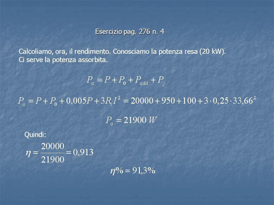 Esercizio pag. 276 n. 4 Calcoliamo, ora, il rendimento. Conosciamo la potenza resa (20 kW). Ci serve la potenza assorbita.