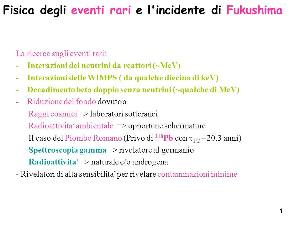 Fisica degli eventi rari e l incidente di Fukushima