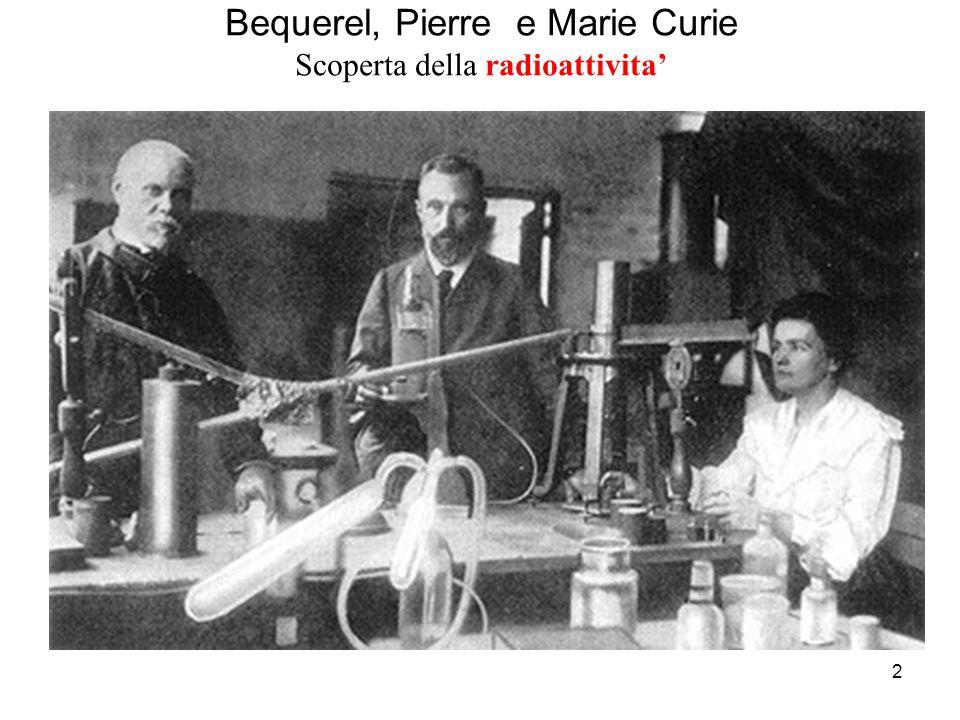 Bequerel, Pierre e Marie Curie Scoperta della radioattivita'