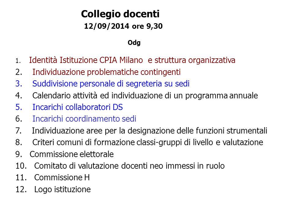 Collegio docenti 12/09/2014 ore 9,30