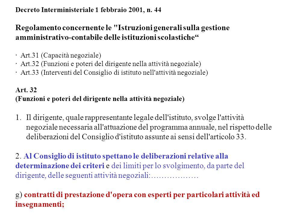 Decreto Interministeriale 1 febbraio 2001, n. 44