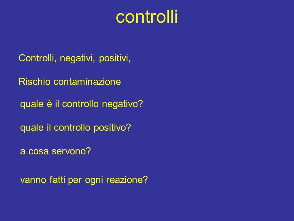 controlli Controlli, negativi, positivi, Rischio contaminazione