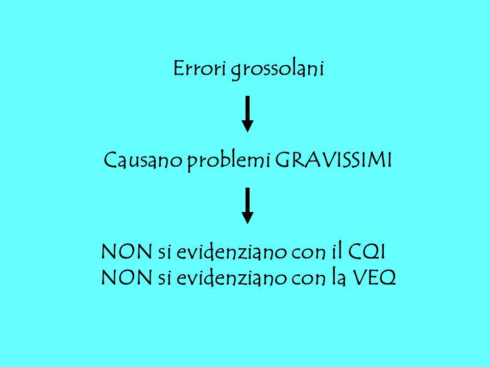 Errori grossolani Causano problemi GRAVISSIMI. NON si evidenziano con il CQI.
