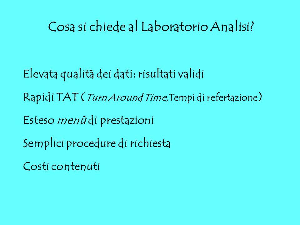 Cosa si chiede al Laboratorio Analisi