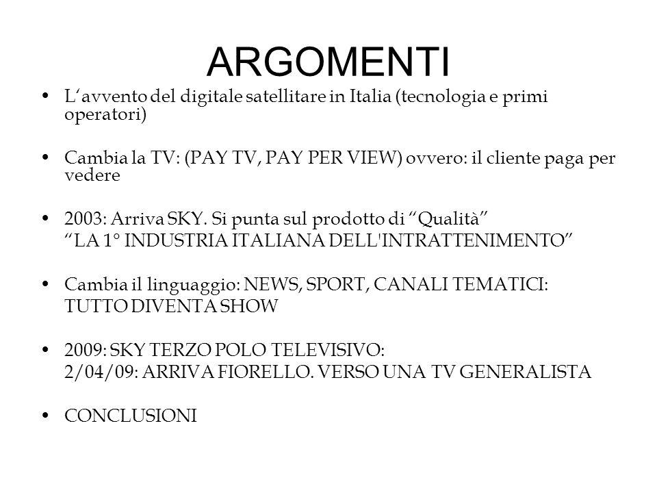 ARGOMENTI L'avvento del digitale satellitare in Italia (tecnologia e primi operatori)