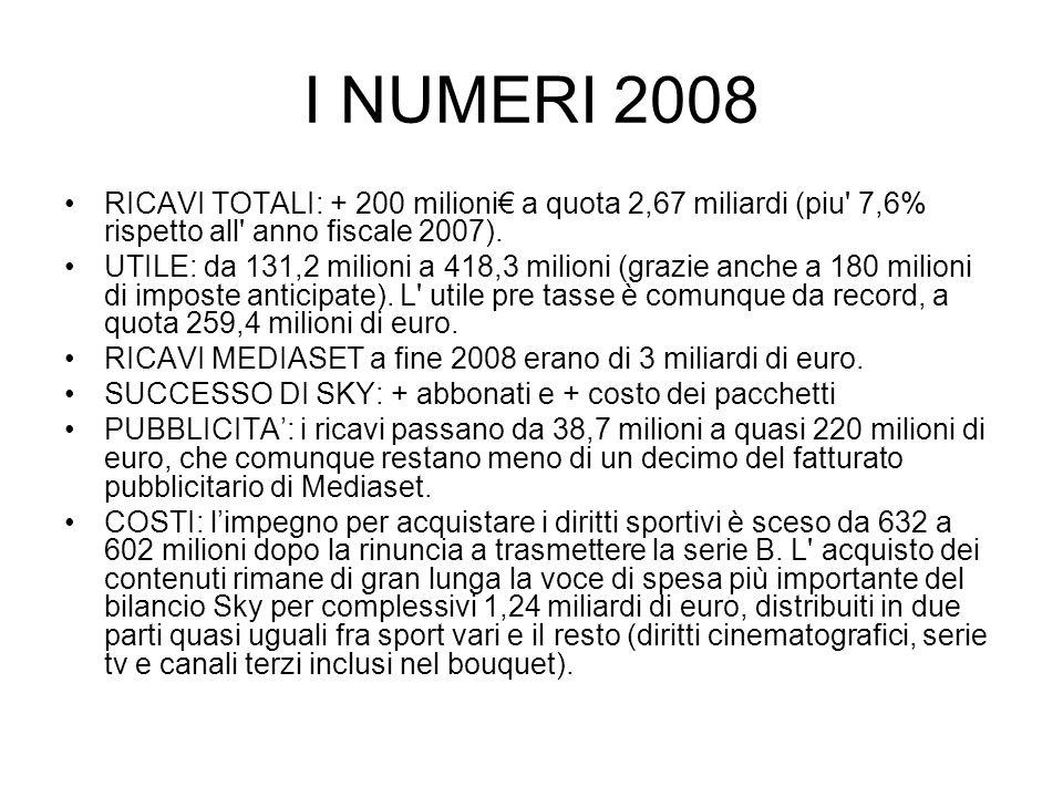 I NUMERI 2008 RICAVI TOTALI: + 200 milioni€ a quota 2,67 miliardi (piu 7,6% rispetto all anno fiscale 2007).