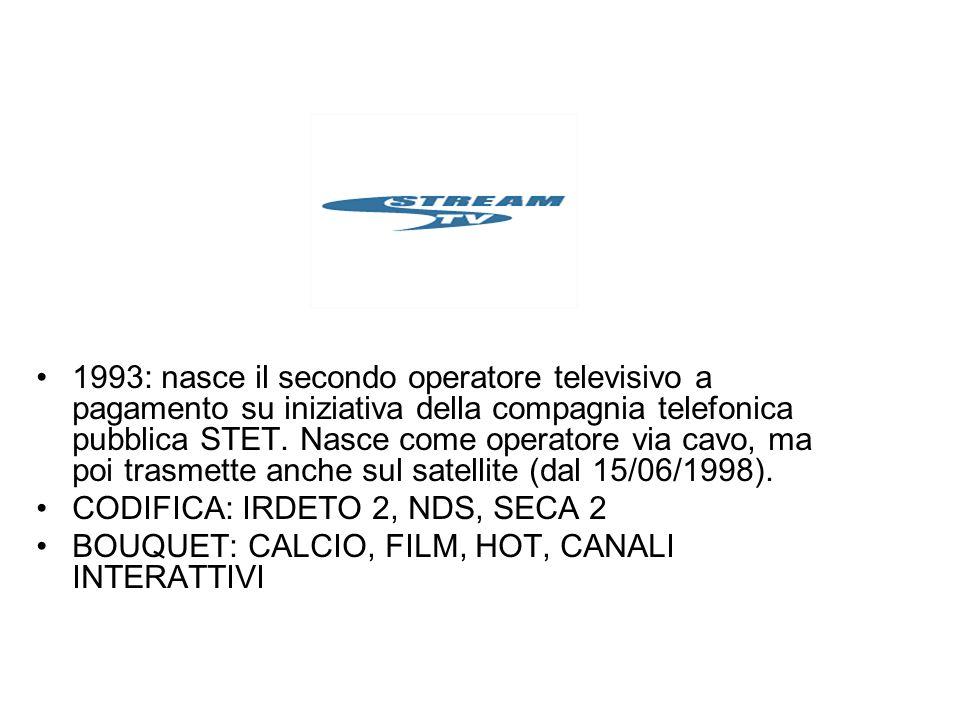 1993: nasce il secondo operatore televisivo a pagamento su iniziativa della compagnia telefonica pubblica STET. Nasce come operatore via cavo, ma poi trasmette anche sul satellite (dal 15/06/1998).
