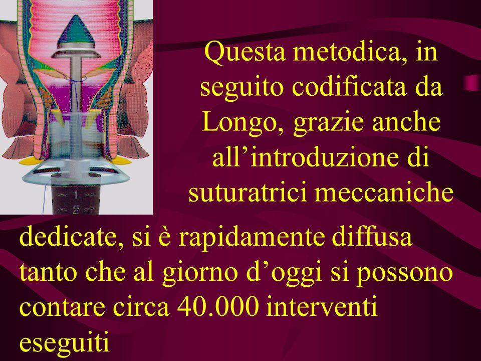 Questa metodica, in seguito codificata da Longo, grazie anche all'introduzione di suturatrici meccaniche