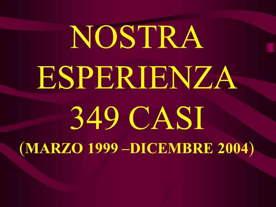 NOSTRA ESPERIENZA 349 CASI (MARZO 1999 –DICEMBRE 2004)