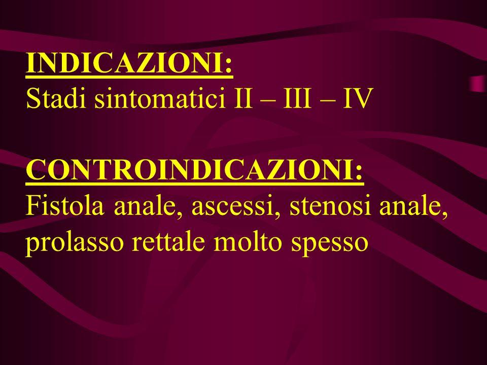 INDICAZIONI: Stadi sintomatici II – III – IV CONTROINDICAZIONI: Fistola anale, ascessi, stenosi anale, prolasso rettale molto spesso