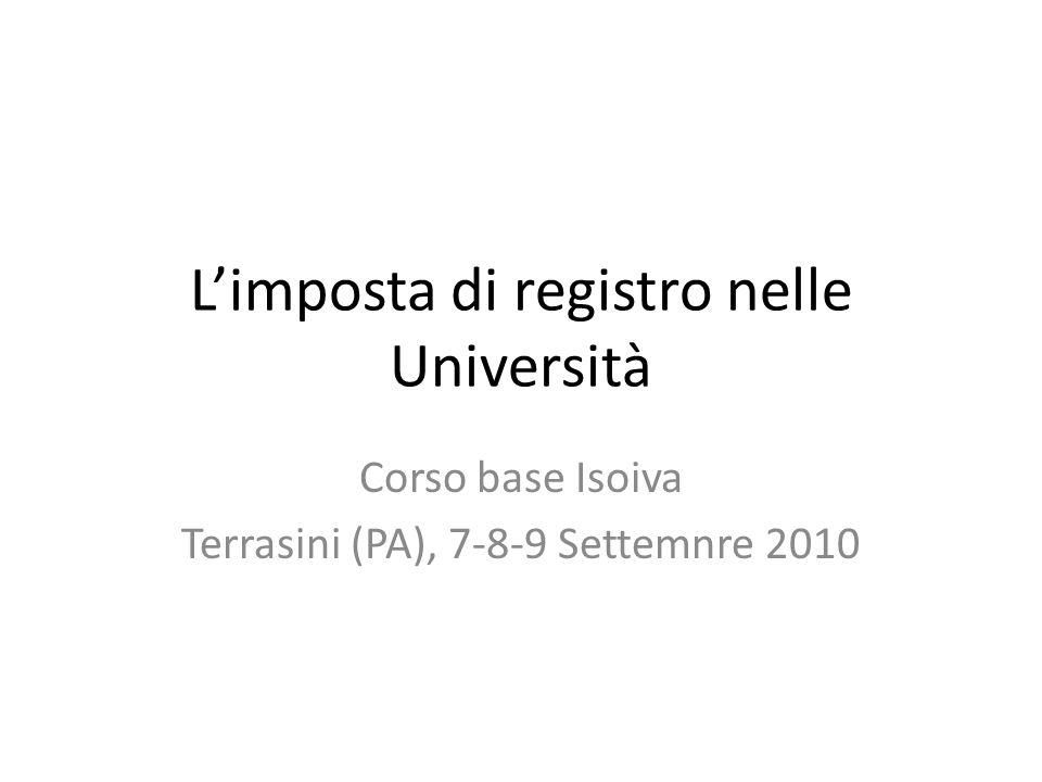 L'imposta di registro nelle Università