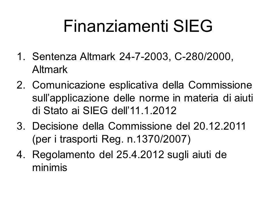 Finanziamenti SIEG Sentenza Altmark 24-7-2003, C-280/2000, Altmark