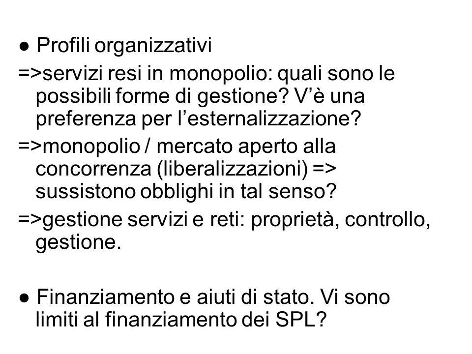 ● Profili organizzativi
