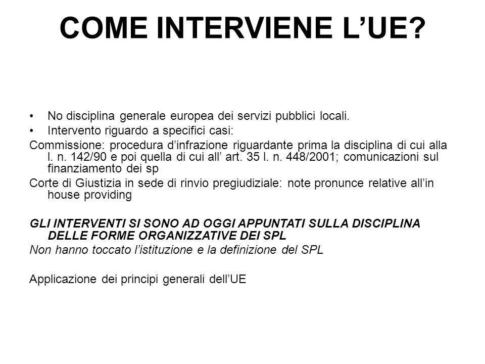 COME INTERVIENE L'UE No disciplina generale europea dei servizi pubblici locali. Intervento riguardo a specifici casi: