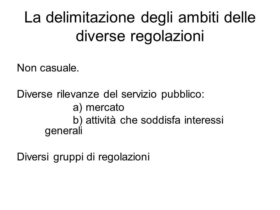 La delimitazione degli ambiti delle diverse regolazioni