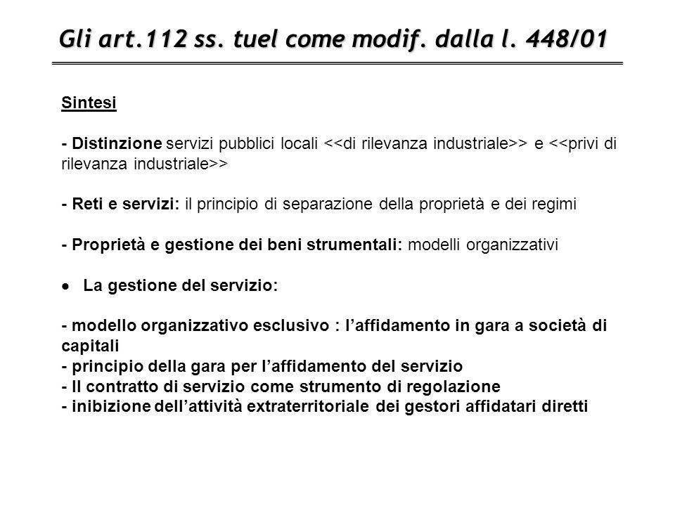 Gli art.112 ss. tuel come modif. dalla l. 448/01