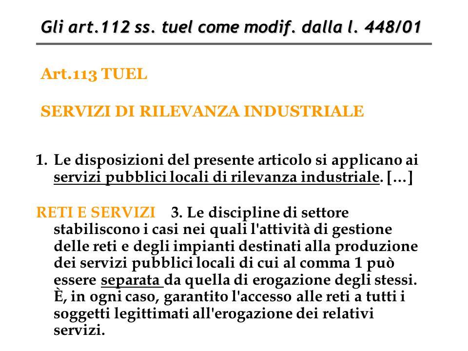 Art.113 TUEL SERVIZI DI RILEVANZA INDUSTRIALE