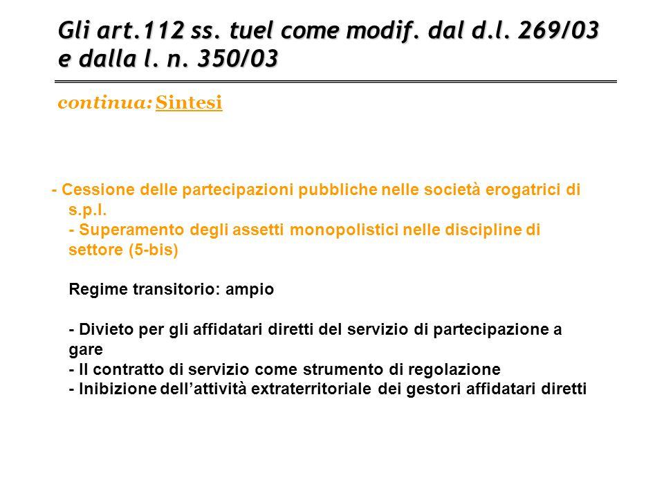 Gli art.112 ss. tuel come modif. dal d.l. 269/03 e dalla l. n. 350/03