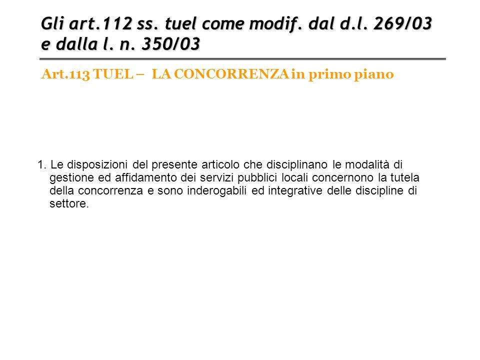 Art.113 TUEL – LA CONCORRENZA in primo piano