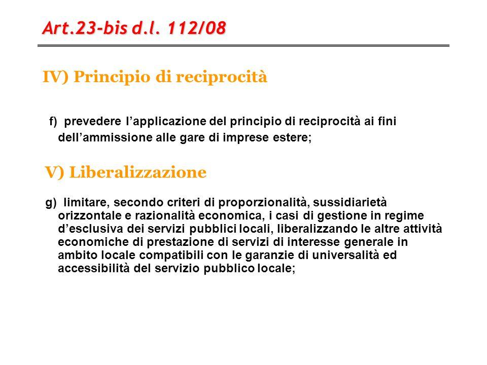 IV) Principio di reciprocità