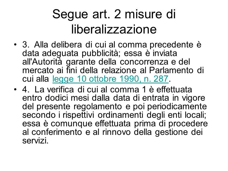 Segue art. 2 misure di liberalizzazione