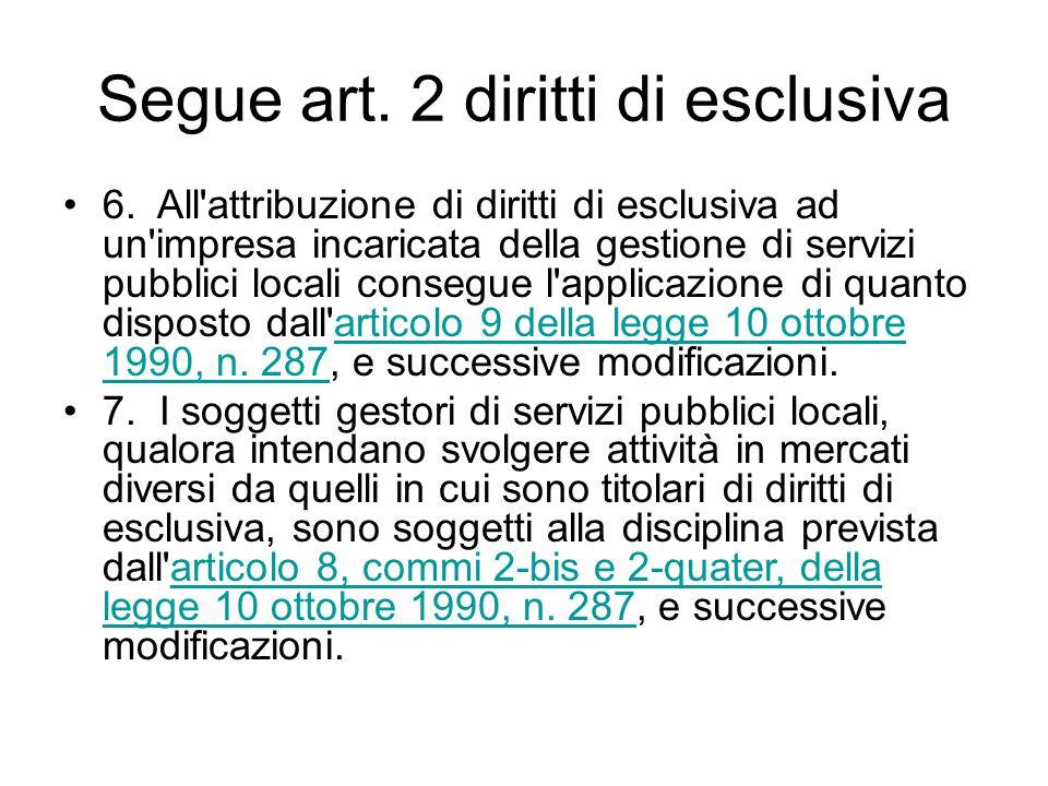 Segue art. 2 diritti di esclusiva