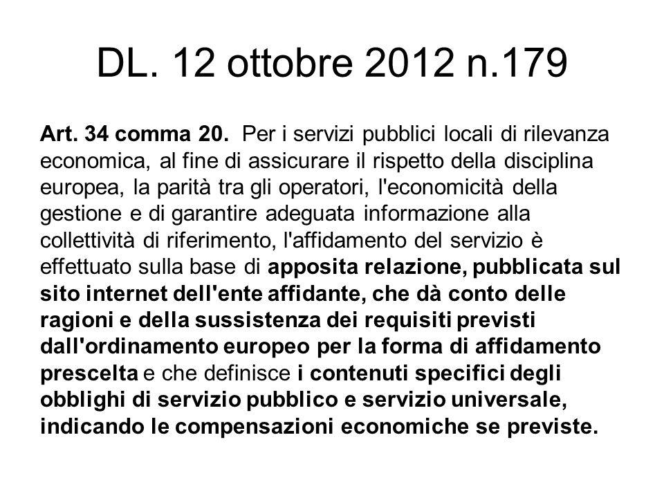 DL. 12 ottobre 2012 n.179